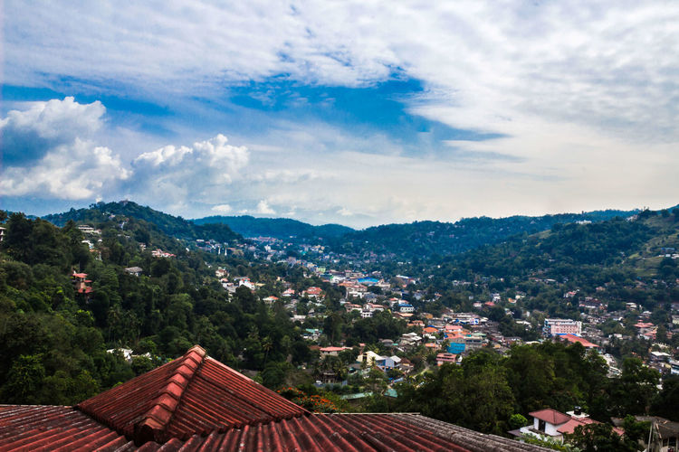 Mountain Cloud - Sky Mountain Range Tranquility Travel Destinations Vacations Scenics Landscape Beauty In Nature Cityscape View From Hotel No People Kandy Town In The Morning, Kandy, Sri Lanka