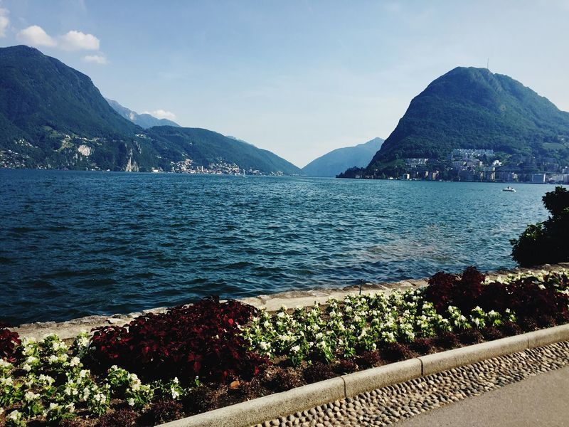 Mountain Beauty In Nature Mountain Range Water Nature Scenics Tranquil Scene Outdoors Tranquility Sea Day Sky No People Landscape Lugano l Lugano Lake Lugano, Switzerland Luganocity