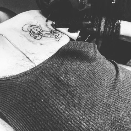 First tattoo! Indoors  Close-up Working View From Above Tattoo Art Bodyart Disney Jiminycricket First Forever Permanent Conscience Blackandwhite Artist