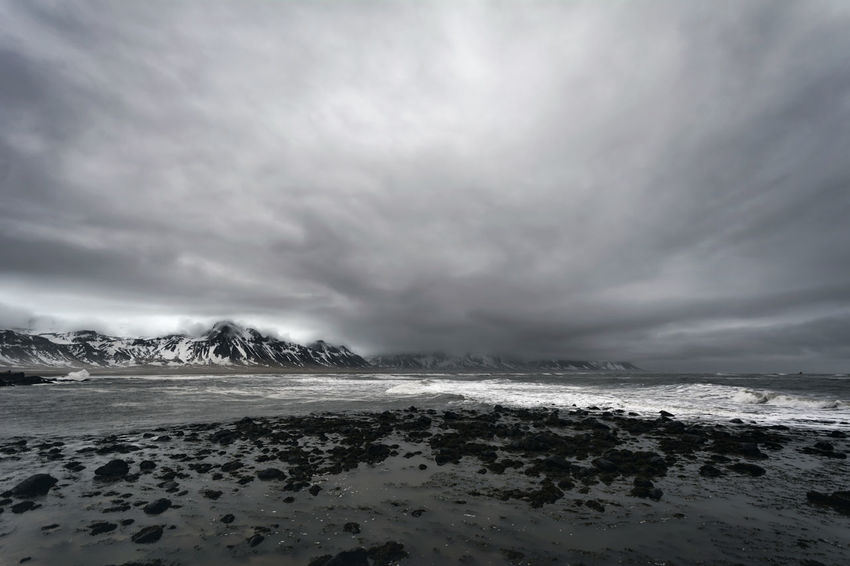 Landscape in Iceland Beauty In Nature Calm Cloud Cloud - Sky Cloudy Coastline Day Dramatic Sky Horizon Over Water Idyllic Nature No People Non-urban Scene Outdoors Overcast Remote Scenics Sea Shore Sky Storm Cloud Tranquil Scene Tranquility Water Weather