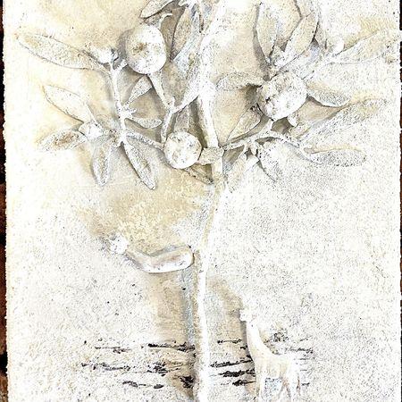 Visdomens träd. Three of wisdom Collage Art Konst acrylic Akryl Målning Painting