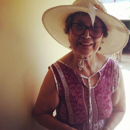 Portrait of mature woman wearing hat