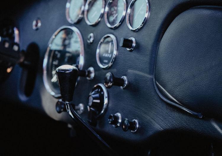 Close-up of knob and gauge