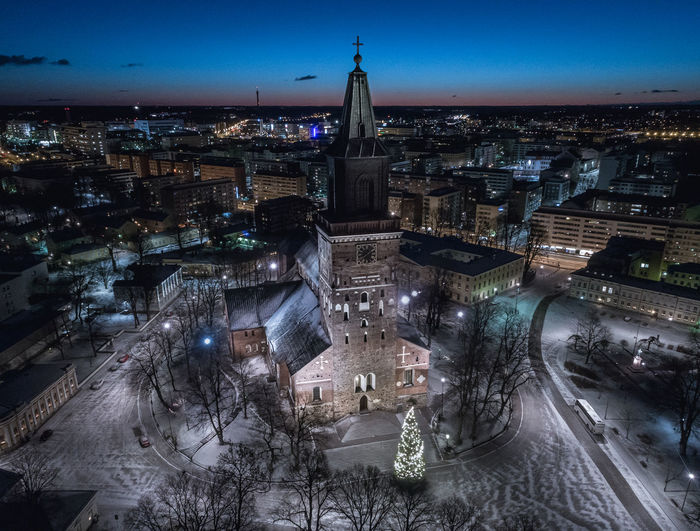 Aerial view of Cathedral of Turku at early morning, Finland Turku Finland Winter Snow Aerial Aerial Shot Aerial Photography Dronephotography Drone Photography Droneshot Monument Dawn Morning Historical Historical Building Night Illuminated Cityscape Architecture City Building Exterior Outdoors Built Structure No People Travel Destinations Aerial View Urban Skyline Shades Of Winter