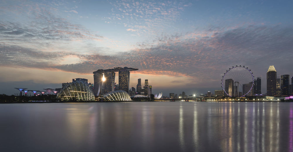 View Of Marina Bay Sands At Waterfront During Sunset