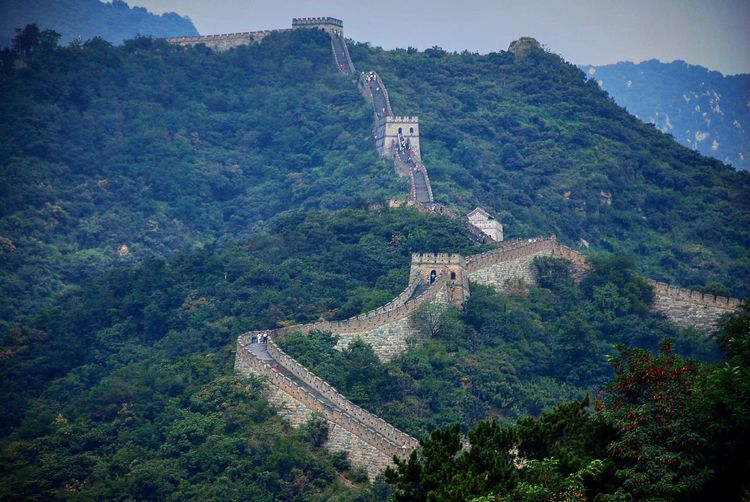 High angle view of the great wall of china