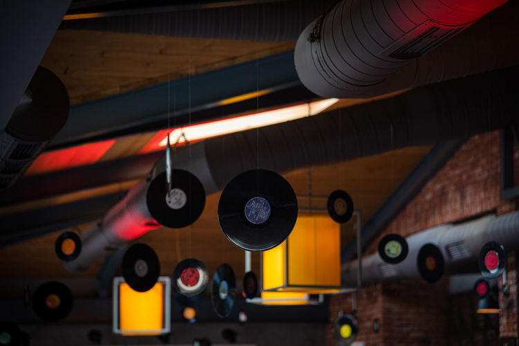 High angle view of illuminated lighting equipment