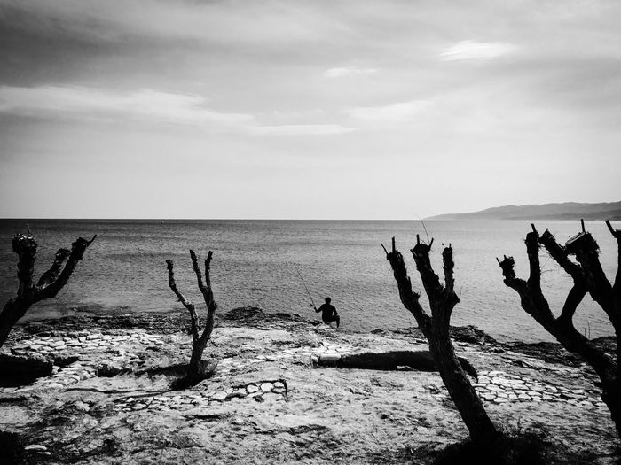 Sea Sky Nature Beach Water Outdoors Trees Man Fishing Coast Rock Solitude Scenics Silhouette Tranquility EyeEm Selects