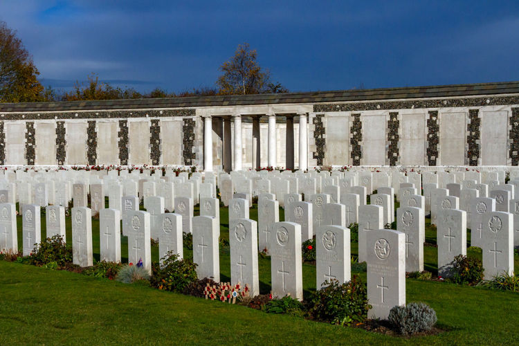 Panoramic shot of cemetery against sky
