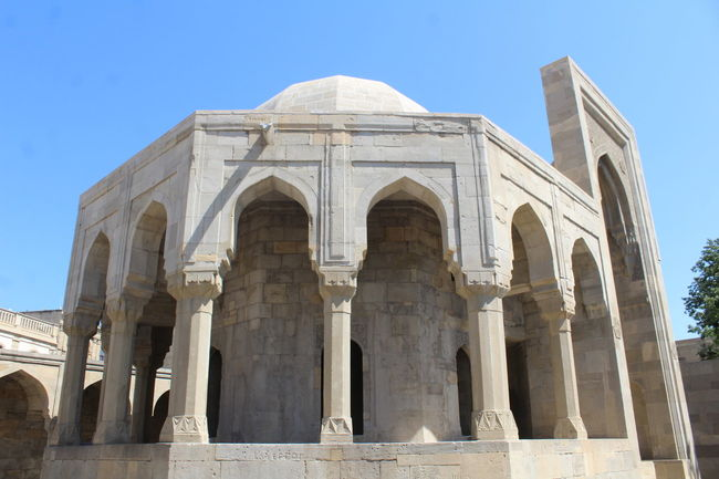 The Palace of the Shirvanshahs, Baku, Azerbaijan Azerbaijan Baku Ancient Ancient Civilization Architecture Azerbaycan Baku Azerbaijan Blue Building Exterior Built Structure Clear Sky Day History Low Angle View Mausoleum No People Old Ruin Oriental Outdoors Sky Travel Destinations