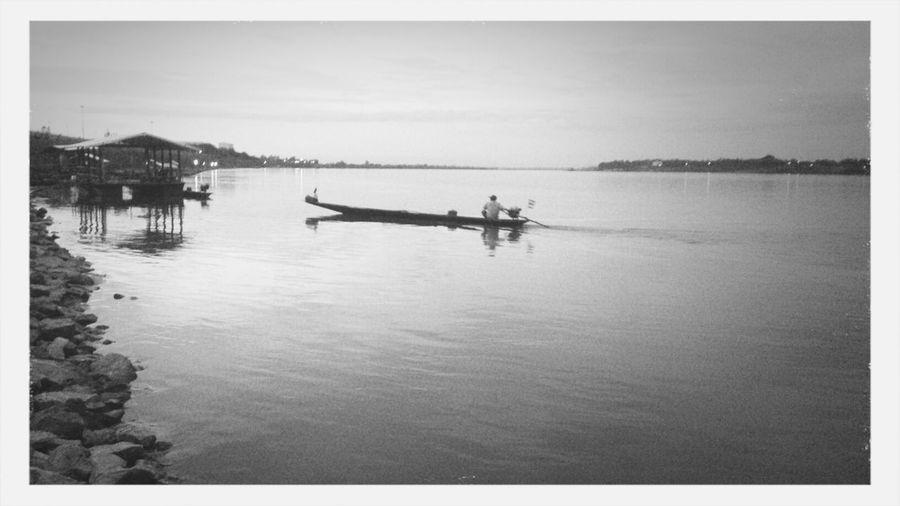 Motor boat in calm harbor