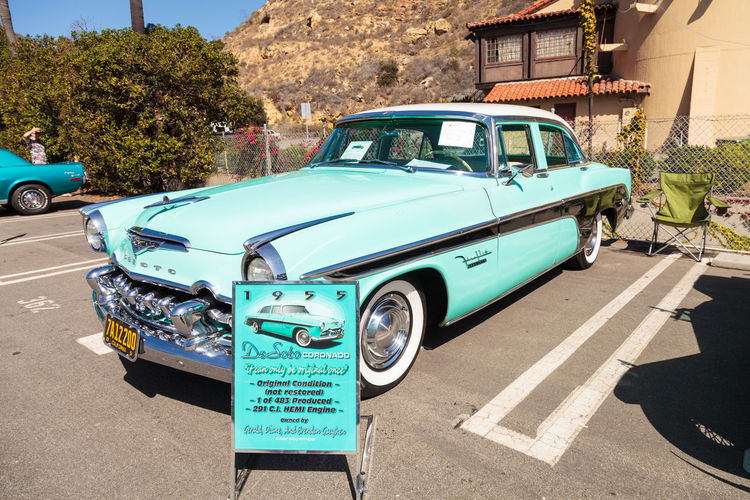 Laguna Beach, CA, USA - October 2, 2016: Blue 1955 DeSoto Coronado owned by Gerald Gaughen and displayed at the Rotary Club of Laguna Beach 2016 Classic Car Show. Editorial use. 1955 Automobile Car Car Show Classic Classic Car Day DeSoto Coronado Laguna Beach Land Vehicle No People Old Car Outdoors Vintage Vintage Cars