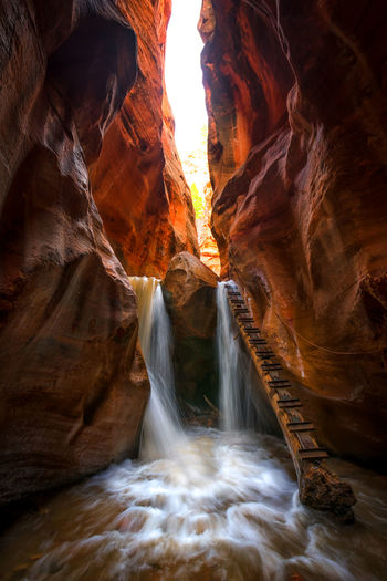 This photo is from Kanarra Creek, a very photogenic creek in northern area of Zion National Park. Rock Rock Formation Slot Travel Travel Photography Zion National Park Geology Rocks Long Exposure River Slot Canyon Travel Destinations EyeEmNewHere