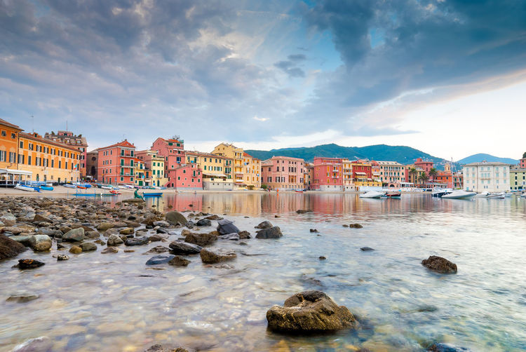 Early morning in Silent Bay (Baia del Silenzio) Backgrounds Baia Baia Del Silenzio Beach Beutiful  Cloud Cloud - Sky Coastline Color Colorful House Reflection Reflections Residential Building Residential Structure Rock - Object Sea Sestri Levante Silence Silenzio Sky Travel Destinations Water Waterfront