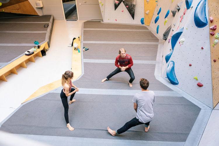 High angle view of people dancing on floor