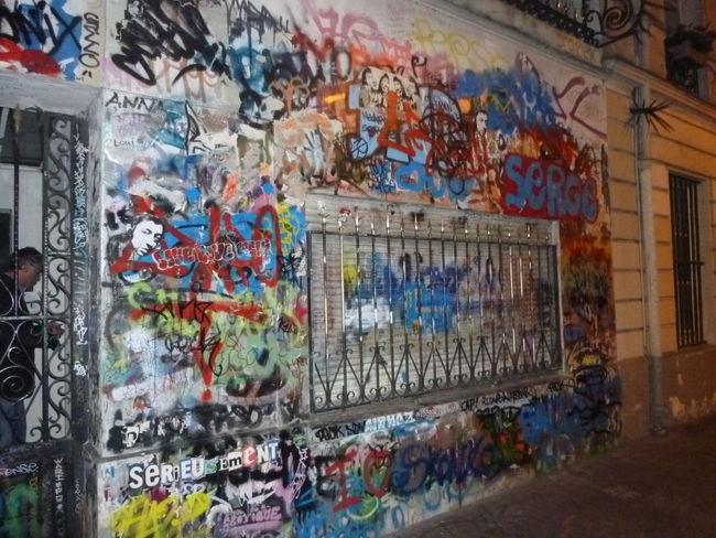 Art And Craft Built Structure Creativity Gainsbourg's House Graffiti Multi Colored Paris, France  Rue De Verneuil Street Art