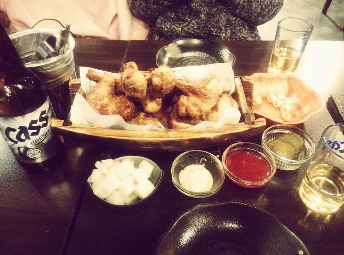 Korean Food Chicken. Beer