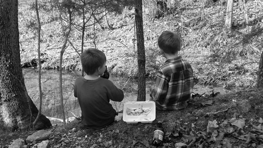 Rear view of boys sitting in forest