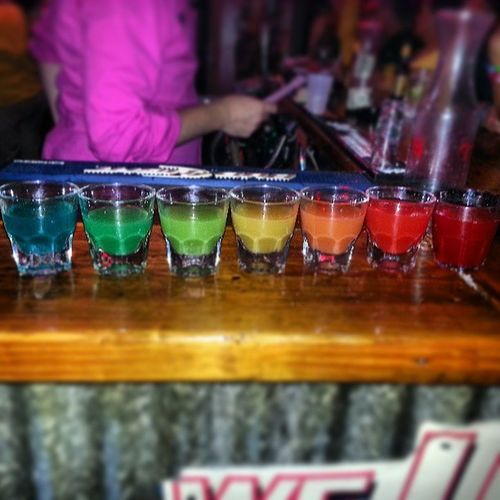 Getting a birthday shot for your lil sis. I'm doing it right! RainbowShot Bday LilSisIs25 Pride CelebratoryBeverage