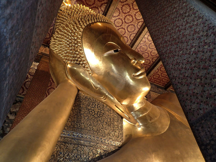 Statue Sleeping Buddha Spirituality Gold Colored Place Of Worship Religion Low Angle View Wat Pho Bangkok Thailand Belief