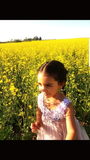 Child Childhood Portrait Girls Yellow Field Cereal Plant Standing Sky Grass