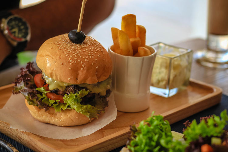 Close-up of burger in plate on table