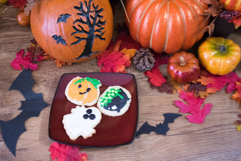 Baked Goods Cookies Halloween Halloween Treats SugarCookies Treats Close-up Day Festive Food Food And Drink Freshness Halloween Indoors  Multi Colored No People Pumpkin Sugar Cookies Table