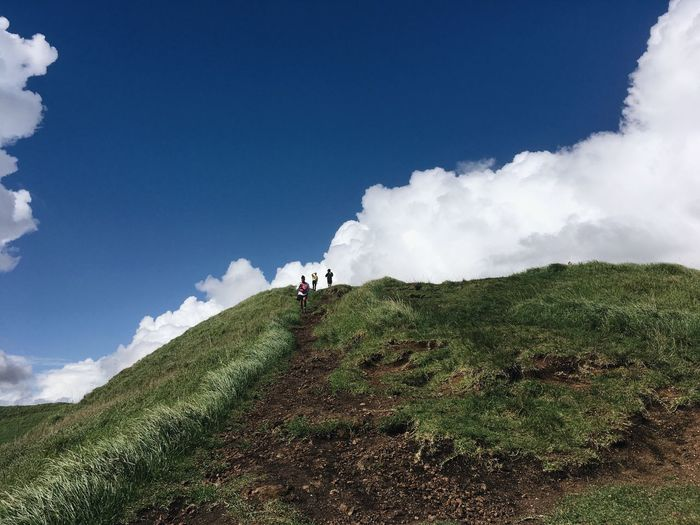 Up in the ☁️⛰☁️ Nature Grass Sky Landscape Cloud - Sky Hiking People Adventure