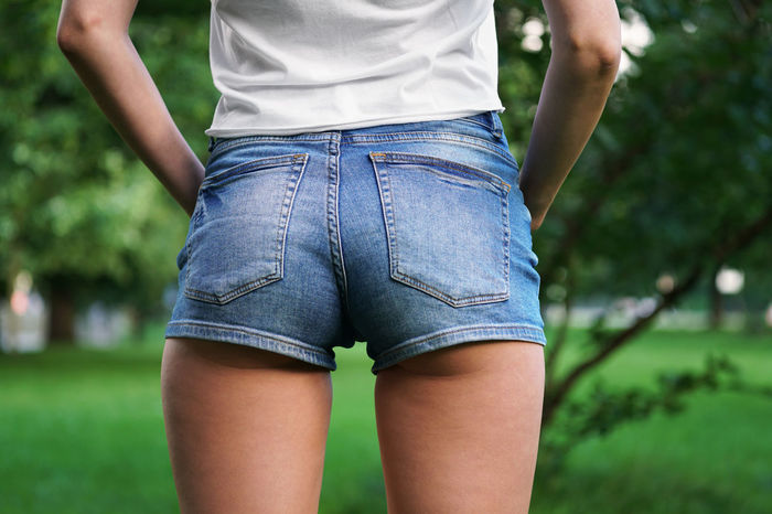 Fashion Body Part Booty Shorts Casual Clothing Close-up Day Hot Pants Hotpants Jeans Midsection One Person Outdoors Real People Shorts Standing Women Young Adult Young Woman