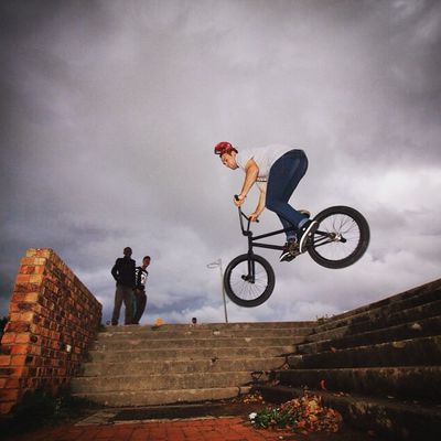 "@satt.milo dropping a 360 off the stairs to an epic land. ""Courage is not the absence of fear, but rather the judgement that something else is more important than fear."" - Ambrose Redmoon Bmx  RBZAlookdown Rideforgood Redbullza GivesYouWings Shooteditsleeprepeat"