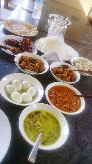 Kerala India Food And Drink Food Healthy Eating Table Freshness Indianphotography Home Food Indian Food Foodphotography Food Photography Indian Chicken Curry Roasted Chickens Phone Photography Chapati Appam Veg Kurma Eggs... Chicken Curry