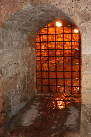 Kalemegdan Fortress Gate Light Night Old Perspectives Lignes Courbes Grilles Shadow Stone Tower Tunnel