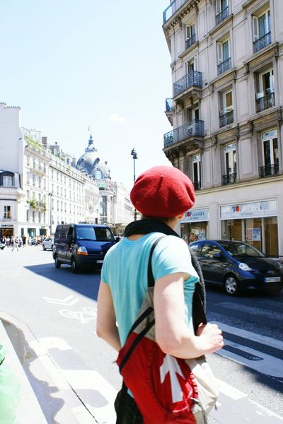 The Street Photographer - 2015 EyeEm Awards The Fashionist - 2015 EyeEm Awards Backpacker Red Hat People Photography Streetphotography People Watching On The Road Paris, France  Hello World