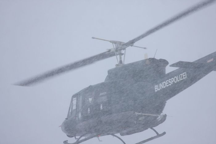 Helicopter Day Flying Fog Low Angle View No People Outdoors Police Helicopter Search And Rescue Sky Snowstorm Transportation