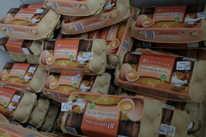 Berlin, Germany - August 25, 2017: Heap of boxes of chicken eggs at supermarket Agriculture Aliment Farm Insecticide Rustic Scandal Supermarket Vegetarian Box Of Eggs Chicken Eggs Cholesterol Close-up Consumption  Contaminated Ecological Eggs Food For Sale Indoors  Ingredient Large Group Of Objects No People Packaging Retail  Uncooked