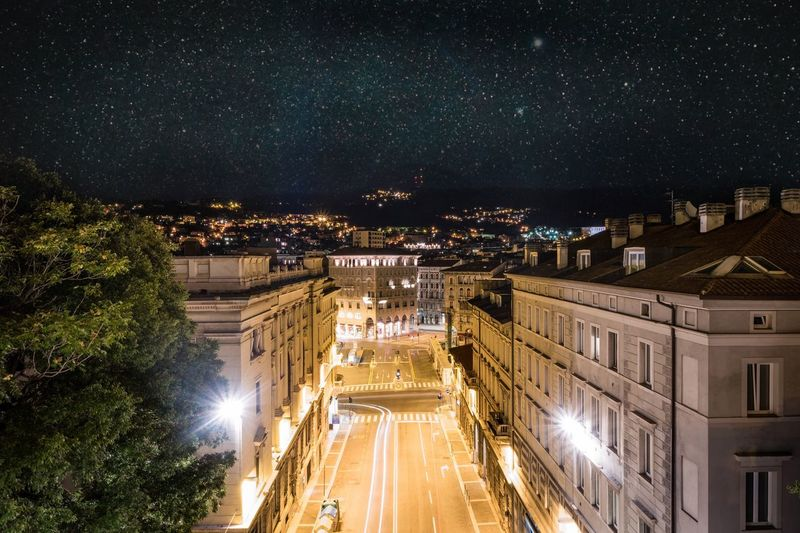 Trieste at night Night Illuminated Architecture Built Structure Building Exterior Light Trail Outdoors Long Exposure Transportation Sky Star - Space City No People Astronomy Nature Cityscape Trieste EyeEmNewHere