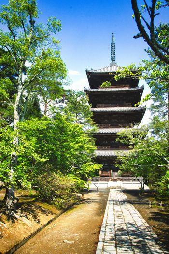 Entrance of temple against building