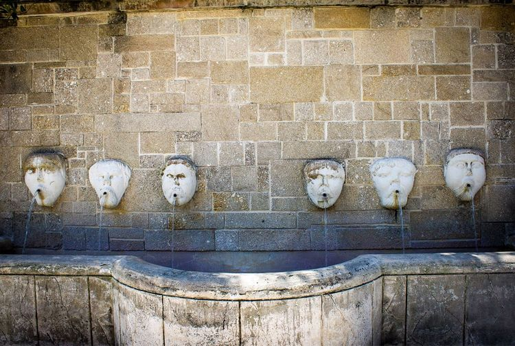 Water fountains on wall at st augustine