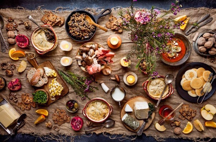 Feast High Angle View Abundance No People Directly Above Freshness Food Indoors  Healthy Eating Healthy Food Homemade Table Rustic Brunch Bowl Soup Pie Celebration Food And Drink Flower Feasting Lunch Cheese Wodden Texture Cutting Board