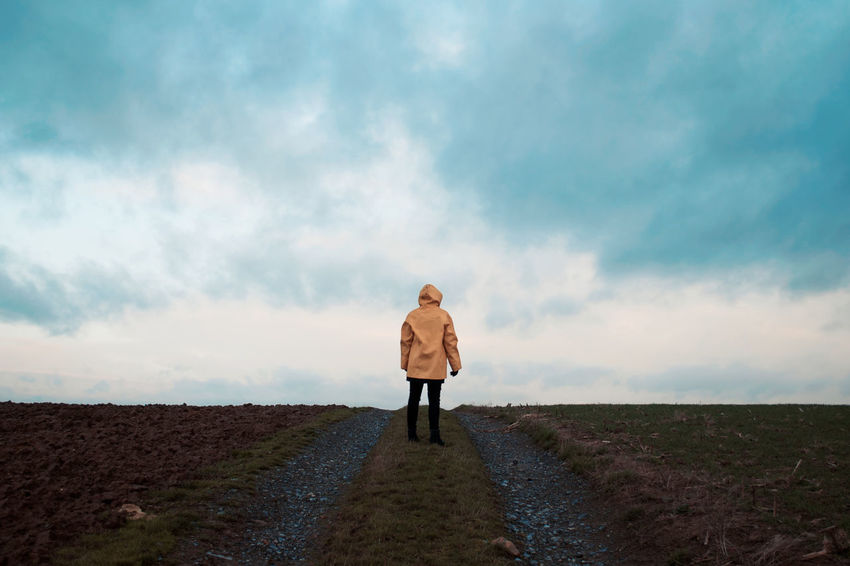 Adult Adults Only Casual Clothing Cloud - Sky Day Freedom Full Length Leisure Activity Men Nature One Man Only One Person Only Men Outdoors People Portrait Rear View Sky Standing The Way Forward Walking Young Adult