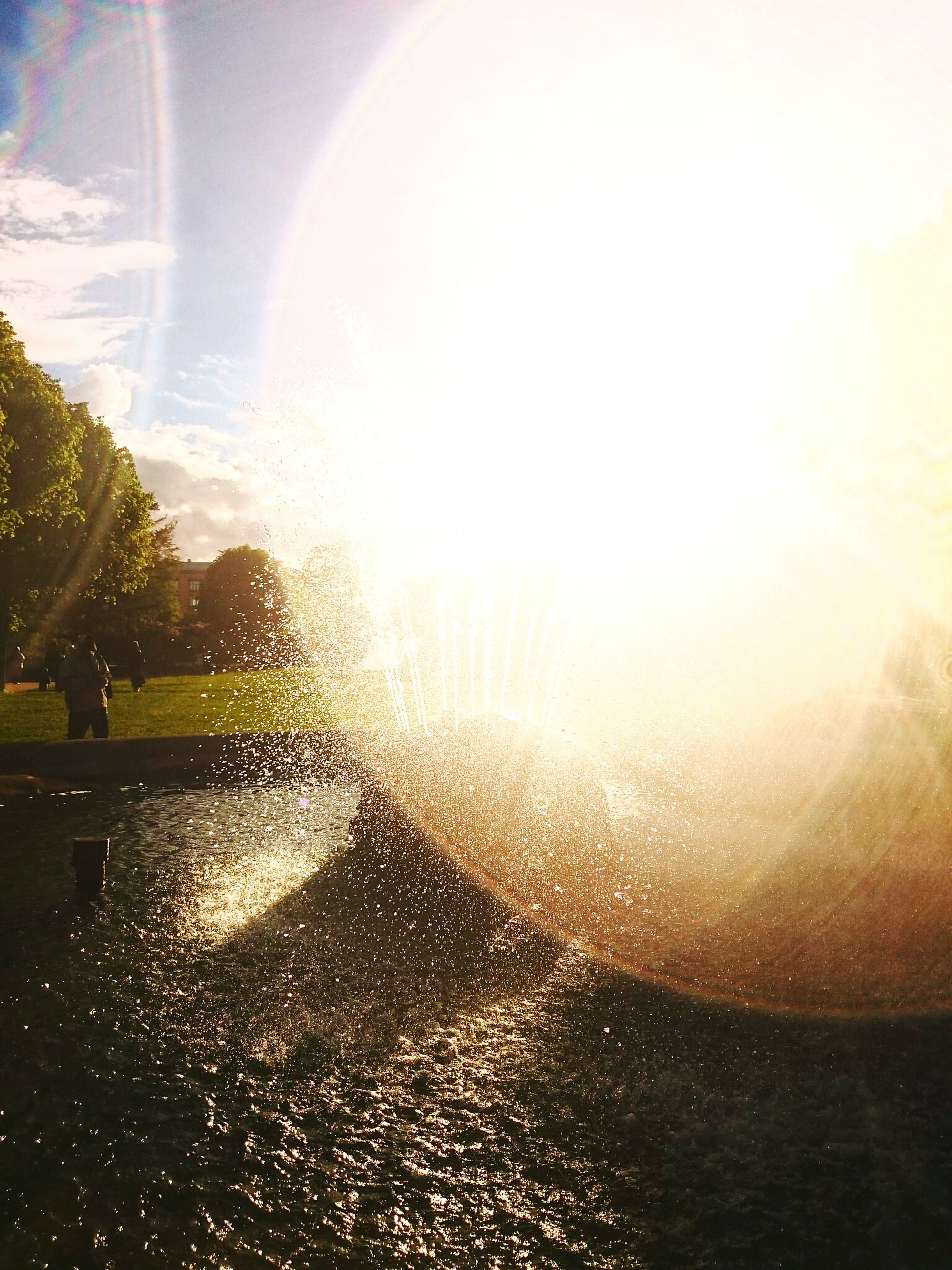 sun, water, sunbeam, lens flare, sunlight, sky, reflection, transparent, nature, glass - material, beauty in nature, drop, sunset, bright, sea, sunny, scenics, one person, tree, shiny