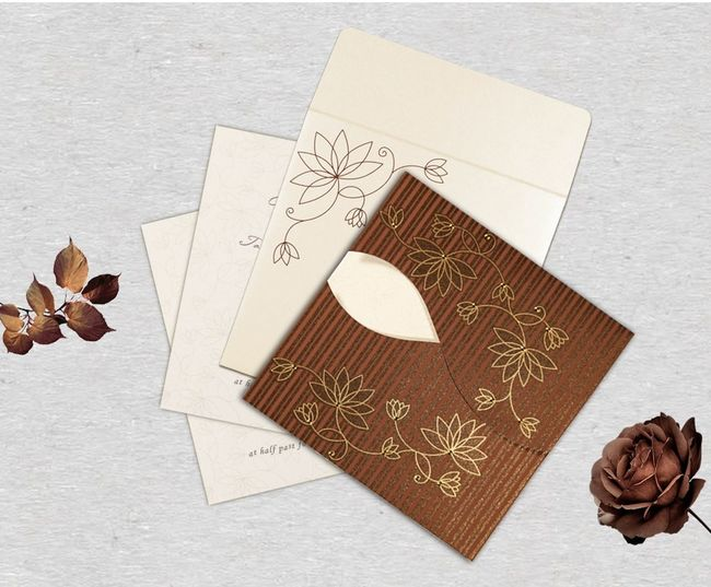 Give your wedding a special feel with our exclusive Brown, Shimmer Paper, Floral Themed Wedding Cards. This gorgeous Wedding Cards is definitely going to take your breaths away with its colors and patterns. Floral Invitations Floral Wedding Invitations Floral Cards Floral Wedding Cards Wedding Invitations Cards Wedding Cards Floral Themed Wedding Invitations Wedding Invitations