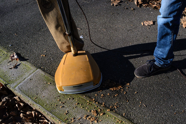 Abandoned Dirty Ground Human Body Part Human Leg Shoe Street Vacuum Cleaner
