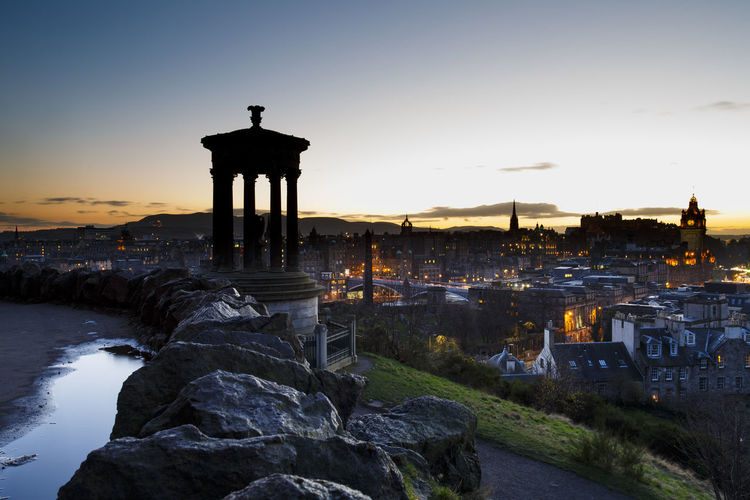 Calton Hill Edinburgh Ancient Ancient Civilization Architecture Beauty In Nature Building Exterior Built Structure Clear Sky Day History Nature No People Old Ruin Outdoors Scenics Sky Sunset Tourism Travel Destinations Water