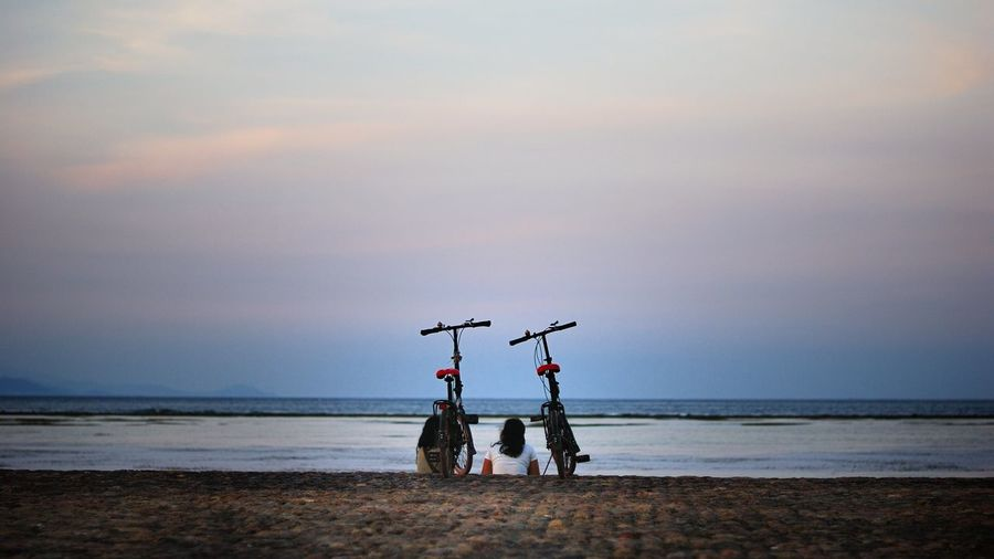 Rear view of women sitting by bicycle on promenade