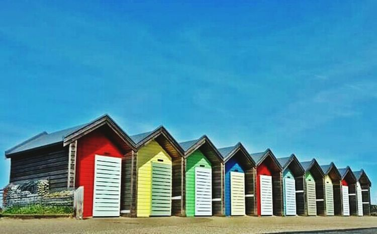 Blue Built Structure Multi Colored No People Beach Hut In A Row Sky Outdoors Day Blyth Relaxing Calm Sunny Day 🌞