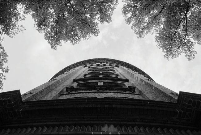 Wasserturm Tree Sky Clouds Blackandwhite Tower View From Below Window
