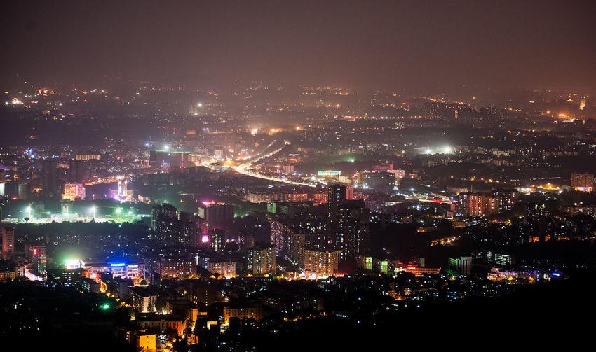 Arial View Of Illuminated City At Night