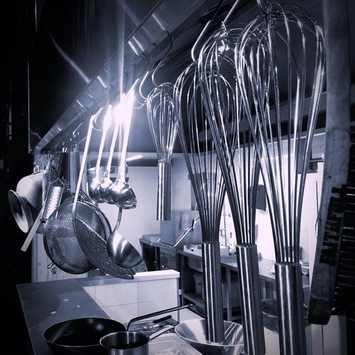 Illuminated cooking equipment at night
