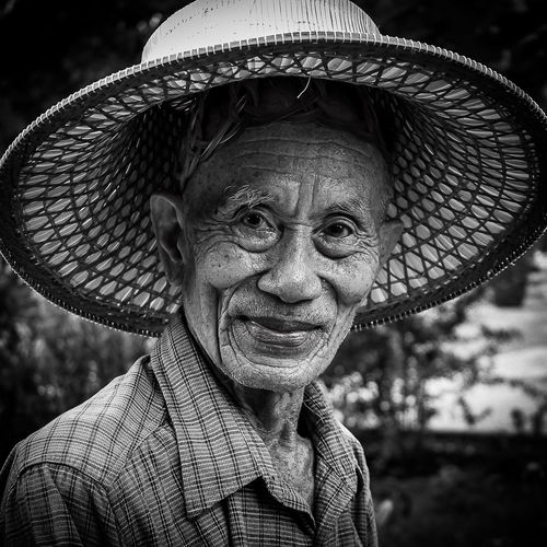 Old Man with Hat Bnw_friday_eyeemchallenge Monochrome Blackandwhite Spotted In Thailand Chiang Mai | Thailand